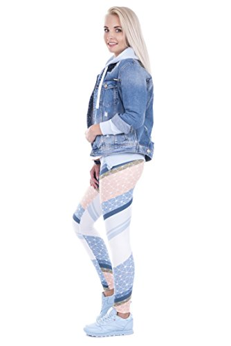 Damen Sport Leggings Hipster Jogahose Muster Sporthose Mädchen Lang Treninganzug Blogger Fullprint Onesize CONNECTED TRIANGLES