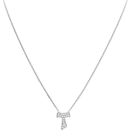 Halskette Kreuz Tau AG925 und Zirkonia, verschiedene Farben erhältlich - Amen Collection Rodio