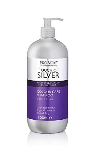 Provoke Pro: Voke Touch of Silver Color Care Shampoo für blondes/platines, weißes oder graues Haar, 1000 ml (Shampoo Brightening Silver)