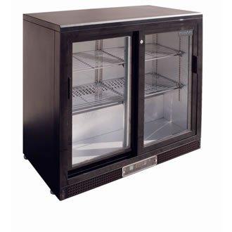 Polar schwarze Display Kühlvitrine 2-türig mit Schiebetüren (Schiebetüren Mit 2 Kühlschrank)