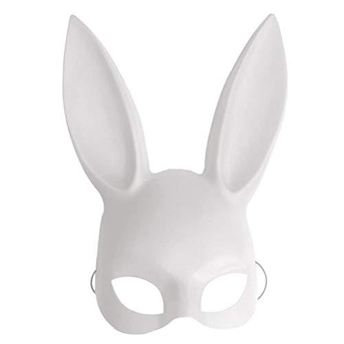 Masquerade Rabbit Mask, Kaninchen-Maske Halloween-Maske für Cosplay/Halloween/Party/Kostüm/Bunny-Ohren 38 x 18cm Schwarz Einheitsgröße