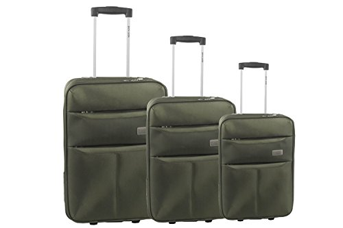 3 Maletas semirrígidas PIERRE CARDIN verde cabina para viajes S255
