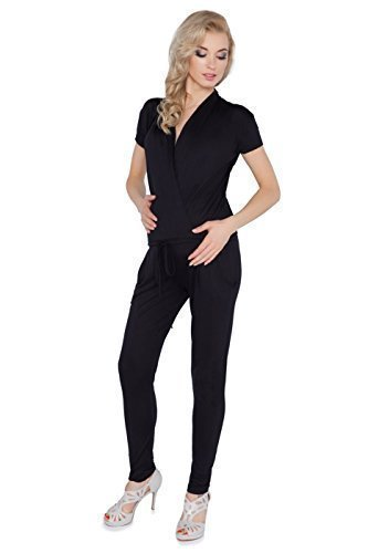 gerschaft Overall mit Taschen Schwangerschaft V Ausschnitt gewickelt Strampelanzug Größen 8-18 1080 - Schwarz, EU 44 - XXL (Mom Kostüme)