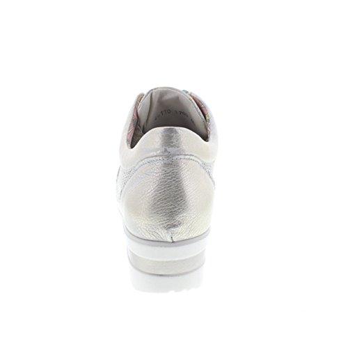 Sneakers Melluso in pelle beige spazzolata effetto oro con zeppa oro - COMETA
