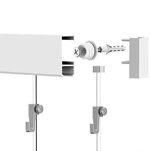 Leha Bilderschienen Galerieschienen Bilderleiste Komplett-Set 3m (2x1,5m) weiß - 2 X 4-wand