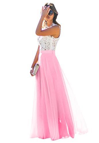 OMZIN Damen Spitze Kleid Blumen Chiffon Kleid Party Lang Kleid für Damen Fuchsia XS -