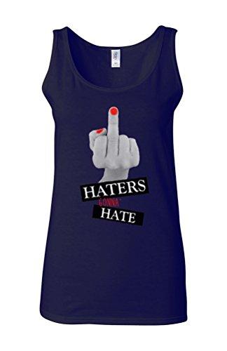 Haters Gonna Hate Funny Novelty White Femme Women Tricot de Corps Tank Top Vest Bleu Foncé