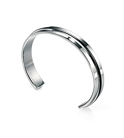 Fred Bennett Stainless Steel Mens B3393 Stainless Steel Cuff Bangle with Black Pvd Strip