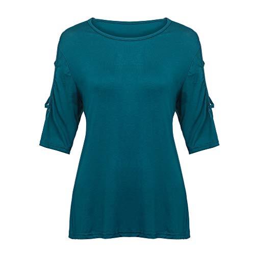 Morran Mode Frauen Oansatz Reine Farbe Kurzarm Einfach Shirt Bluse Tops Langarmshirt Schulterfrei Tunika Hemd Herbst Shirt Oberteile Top Sweatshirt Lose(Green,XXL) -