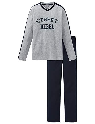 Schiesser Jungen Anzug lang Zweiteiliger Schlafanzug, Grau (Grau-Mel. 202), (Herstellergröße: 140)