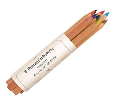 Dicke Buntstifte aus Holz, 8 verschiedene Farben, naturbelassen, unlackiert