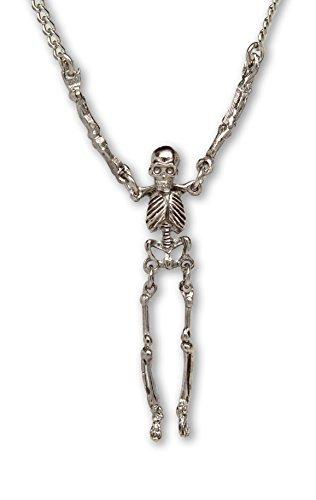 Gothic Skelett Mit Beweglichen Armen und Beinen Silber Finish Zinn Anhänger Halskette