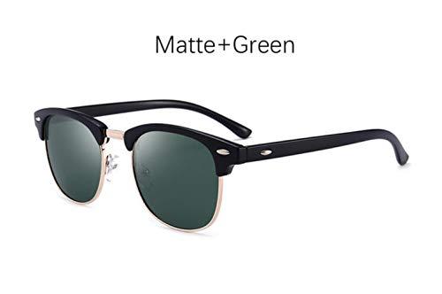 Cranky Orange Herren Sonnenbrille Retro Rivet Shades Markendesigner Sonnenbrille für Herren Classic Herren Spiegel Night Vision Driving Sunglasse, Matte Green