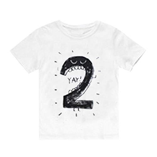 feiXIANG Neugeborenes Baby T-Shirt Kinderkleidung Mädchen Jungen Karikatur Zahl Kleidung Kurzarm Blusen (WeißB,110)