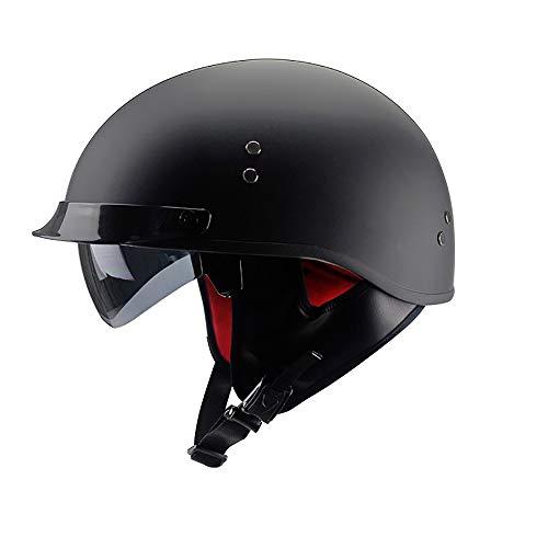 SKINGO Motorrad-Halb offener Helm,Motorradhelm Verdeckte Sonnenbrille Einziehbare GläSer Helme DOT-Sicherheitszertifikat Halbschalenhelm GehöRschutz ABS-High-Dens-EPS