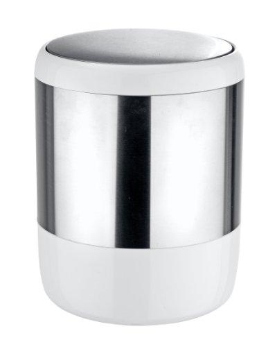 WENKO 21279100 Poubelle avec couvercle à bascule, 6 Litres, Acier Inoxydable, Satiné/Blanc, Ø: 19,5 x 25,5 cm