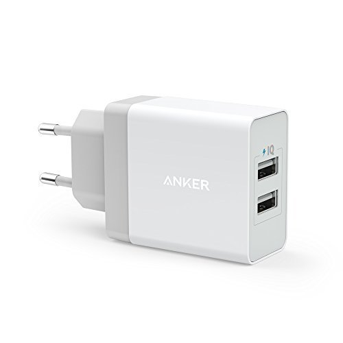 Anker 24W 2-Port USB Ladegerät mit PowerIQ Technologie für Apple iPhone 6 / 6 Plus, iPad Air 2 / mini 3, Samsung Galaxy S6 / S6 Edge, Nexus, HTC M9, Motorola, LG und weitere (Weiß)