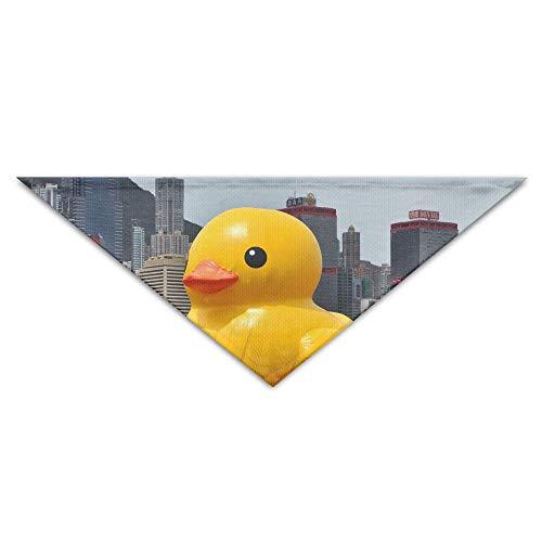 OUYouDeFangA Halstuch, aus Gummi, aufblasbar, Enten-Motiv, waschbar, für Welpen, Katzen, Dreieck, Lätzchen Zubehör für kleine Haustiere – tolle Geschenkidee