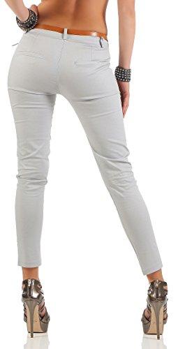 malito Damen Chinohose mit Gürtel   Stretch Caprihose   schicke Freizeithose   Skinny �?Slimfit �?elegant 5388 Hellgrau