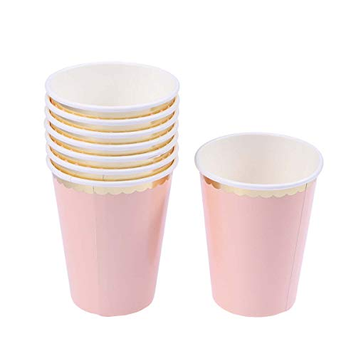 old Foil Pink Disposable Double Layer Paper Cups Tableware Birthday Christmas New Year Party Supplies ()