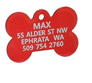 Small, Red - Anodized Bone Pet ID Tag, personalized pet id tags, free pet tags, cat id tag Pet Supplies / Shops