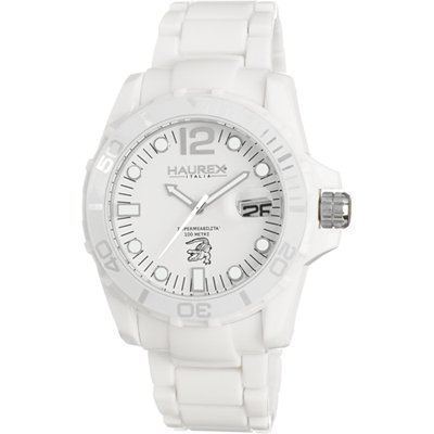 Haurex Italy Haurex Italy Caiman White Dial Plastic Bracelet Watch W7354UWW Mens