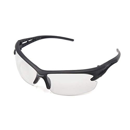 Sungpunet Sportbrille für Mountainbikes, windbeständig, Schwarz, halber Rahmen, durchsichtige Gläser