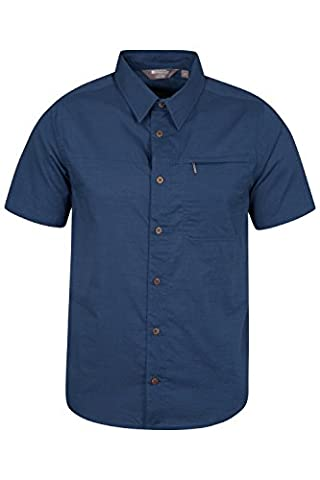 Mountain Warehouse Coconut Short Sleeve Mens Travel Shirt - 100% Cotton - Mesh Lined, Breathable, and Lightweight - Ideal for Summer Travel or Everyday Wear - Zipped Pocket Navy Medium