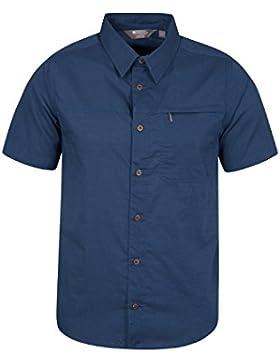 Mountain Warehouse Camicia da viaggio a maniche corte da uomo Coconut - Camicia estiva in 100% cotone, camicia...