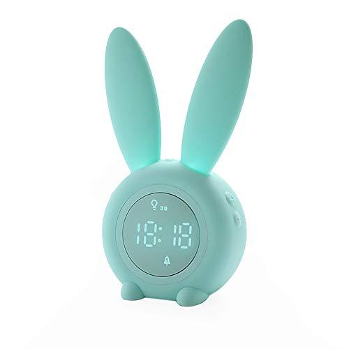 Lindo reloj despertador de conejo Lámpara de Mesita de Noche creativa de mesa Lámpara de cabecera, función Snooze, 6 sonidos fuertes ideal para niños, niñas, recién nacidos, habitaciones(Verde)