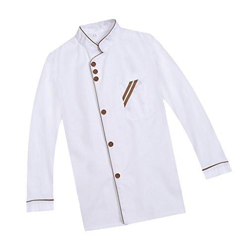 F Fityle Weiß Langarm Kochjacke Bäckerjacke mit Knöpfe Gastronomie Arbeitskleidung Koch Küchen Uniformen Kochkleidung - Weiß, XXL - 3
