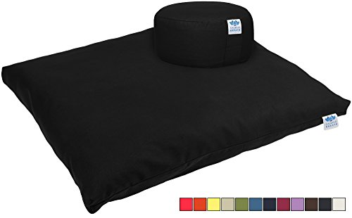 CalmingBreath Yoga Meditationskissen / Yogakissen und Zabuton Matte im Set – Bezüge waschbar – Einheitsgröße