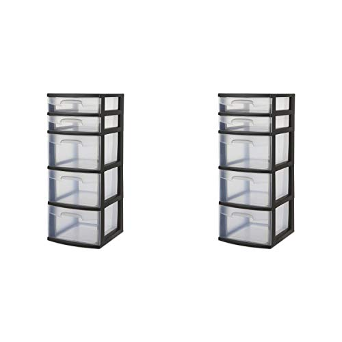 Sterilite Dekorative Aufbewahrungsbox mit 3 Schubladen, gewebt 5 Schubladen 12.63 Inches schwarz (Sterilite Aufbewahrungsbox)