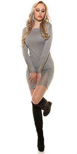 Feinstrick-Kleid mit Spitze Grau