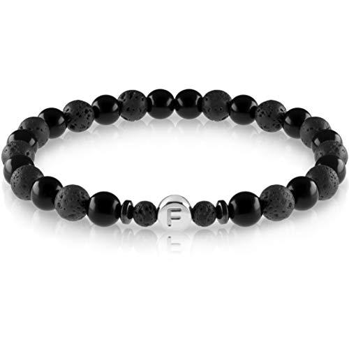 FABACH™ Echtsilber Partnerarmbänder aus 6mm Lava und Onyx Steinen mit 925 Sterling Silber Buchstaben Perle - Paar Perlenarmband mit Gravur als Freundschaftsarmband, Pärchen-Armband