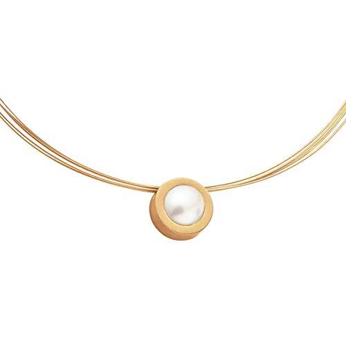 Heideman Halskette Damen Coma 16 aus Edelstahl Gold farbend matt Kette für Frauen mit Swarovski Perle Weiss rund