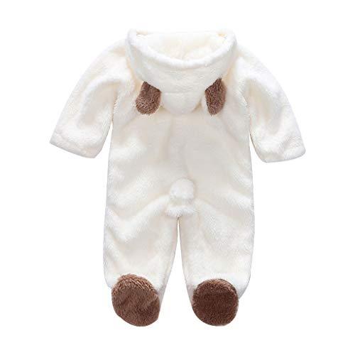 (Busirde Korean Winter-Baby-Strampler Langarm mit Kapuze Overall-Säuglingskleinkind-Kleidung Overall Outfit Weiß 9-12m)