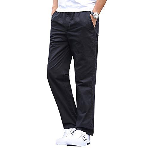 Gmardar Pantaloni Uomo Elegante con Tasche Laterali Zip Elastica Vita Cotone Dritti Larghi Fit Casual Regular Taglie Forti Diversi Colori (Nero, 42-46)