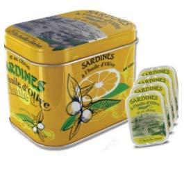 Geschenkbox Sardines à l\'huile d\'Olive et au citron, Schmuckdose mit 4 Dosen Sardinen aus der Bretagne