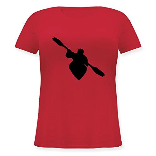 Shirtracer Wassersport - Kajak - S (44) - Rot - JHK601 - Lockeres Damen-Shirt in Großen Größen mit Rundhalsausschnitt (Plus Kanu Paddel)