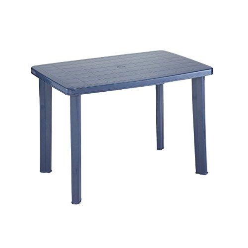 greemotion Kunststoff-Gartentisch in Blau - Esstisch oval für 4 Personen - Balkontisch mit Schirmloch - Terrassentisch - Campingtisch - Outdoor-Tisch - Gartenmöbel wetterfest & stabil