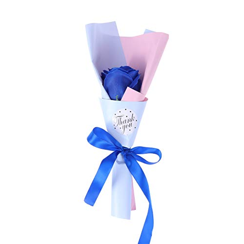 Amosfun 1 stück Simulation Rose Seife Duftenden Rose Blütenblatt Bad Körperseife für Valentinstag Hochzeit Jubiläen Geschenk (Blau) -