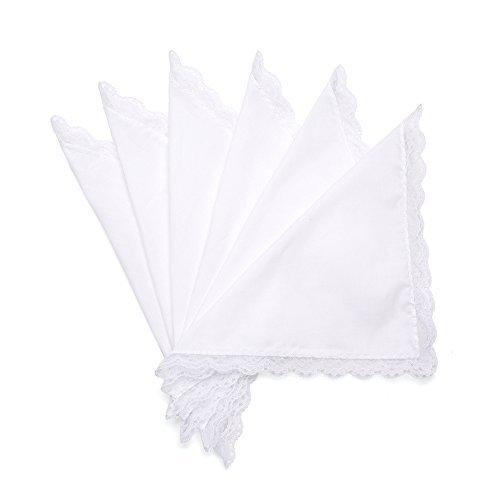 Selected Hanky Damen Hochzeit Taschentuch mit Spitze weiß Baumwolle - Weiß - Einheitsgröße -