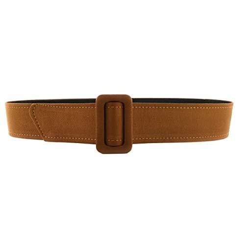 MixYourBeauty MYB Cintura per donna con fibbia rettangolare rivestita in tessuto - Taglia Unica - Senza Fori - diversi colori disponibili (Camel)