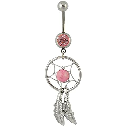 Pink Crystal Gem Dream Catcher Dangle Belly Navel Barbell Button Bar Ring