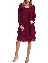 Vestidos Conjuntos ღSUNNSEANღ Chaqueta Vestidos Elegante Color Liso Casual Vestido de 2 Piezas, Manga Larga, con Paneles de Gasa Vestidos de Oficina Faldas Abrigos Mujer Blazer Vestido de Fiestas