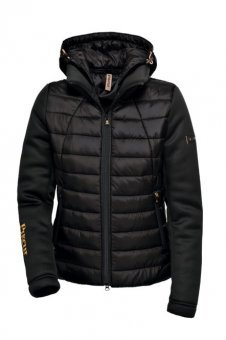 PIKEUR Damen Steppjacke Materialmix mit abnehmbarer Kapuze ELEA Next Generation Herbst/Winter 2017/2018, black, 40