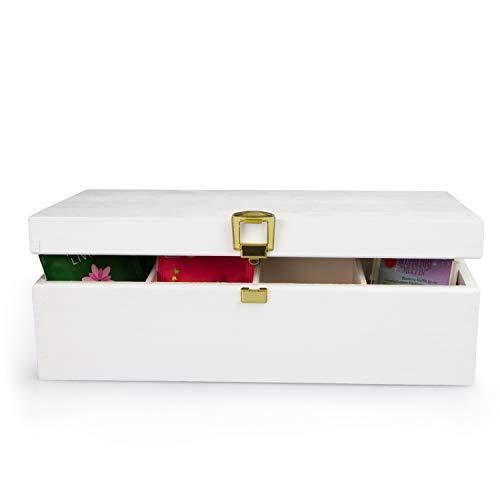 LAUBLUST Große Teekiste 8 Fächer - ca. 28 x 16 x 9 cm, Weiß, FSC® - Holz-Teebox mit Metall-Verschluss | Aufbewahrungskiste | Teebeutel-Spender | Küchenbox | Geschenkkiste für Teeliebhaber