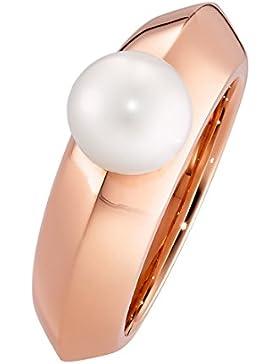XEN Ring mit Perle 8 mm weiß - rosè vergoldet