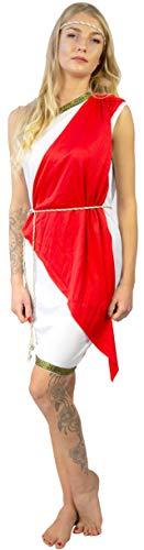 Nick and Ben Götting Gladiatorin Kostüm für Frauen und Kinder | 4-teilige Verkleidung für Karneval | Kleid Schärpe Stirnband Gürtel | weiß, rot | Einheitsgröße